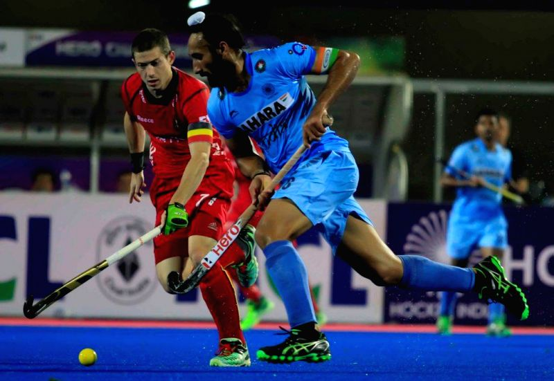 Players in action during a HHCT - 2014 (Hero Hockey Men`s Champions Trophy 2014) match between India and Belgium at Kalinga Stadium in Bhubaneswar on Dec 11, 2014. India won. Score: 4-2.