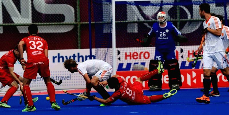 Players in action during a HHCT - 2014 (Hero Hockey Men`s Champions Trophy 2014) match between Netherlands and Belgium at Kalinga Stadium in Bhubaneswar on Dec 13, 2014. Netherlands won.