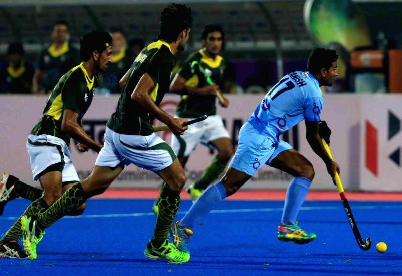 Players in action during a HHCT - 2014 (Hero Hockey Men`s Champions Trophy 2014) match between India and Pakistan at Kalinga Stadium in Bhubaneswar on Dec 13, 2014. Pakistan won. Score: .