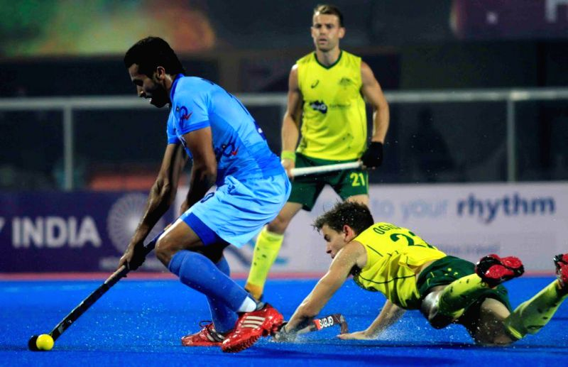 Players in action during a HHCT - 2014 (Hero Hockey Men`s Champions Trophy 2014) match between India and Australia at Kalinga Stadium in Bhubaneswar on Dec 13, 2014.