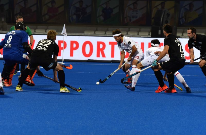 :Bhubaneswar: Players in action during a Men's Hockey World Cup 2018 between Spain and New Zealand  at Kalinga Stadium in Bhubaneswar on Dec 6, 2018. (Photo: IANS).(Image Source: IANS)