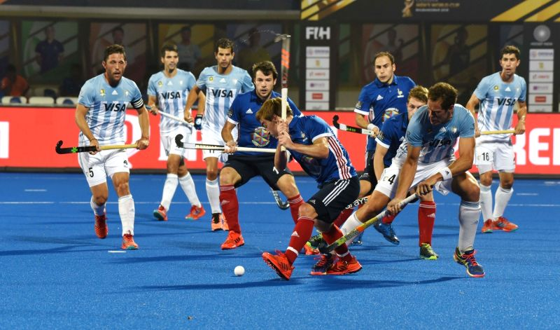:Bhubaneswar: Players in action during a Men's Hockey World Cup 2018 between France and Argentina at Kalinga Stadium in Bhubaneswar on Dec 6, 2018. (Photo: IANS).(Image Source: IANS)