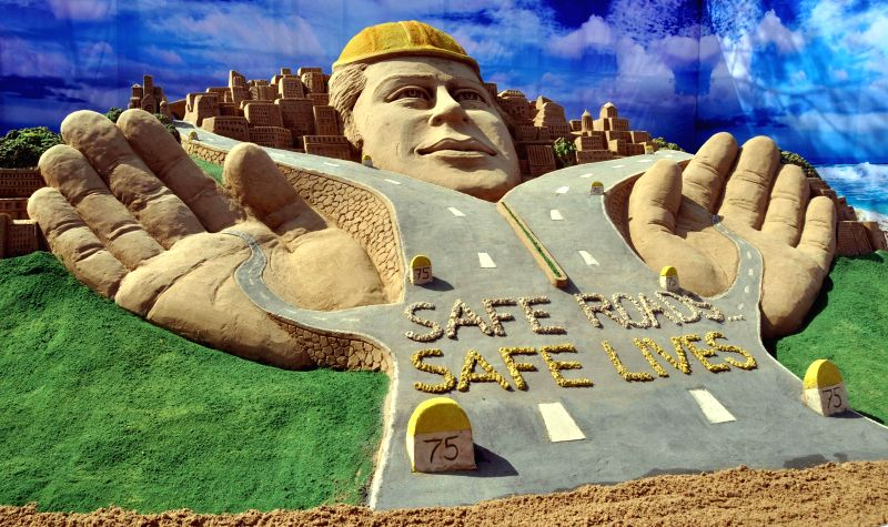 Renowned sand artist Sudarshan Pattanaik's creation displayed during the 75th Annual Session of Indian Roads Congress being held in Bhubaneswar, on Jan 19, 2015. (Photo : IANS)