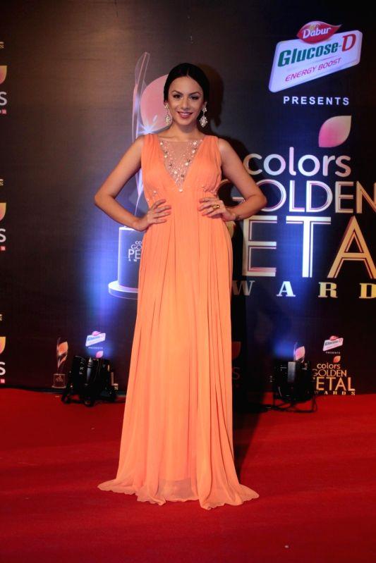 Bigg Boss contestant Nitibha Kaul during the 5th Colors Golden Petal Awards in Mumbai on April 12, 2017.