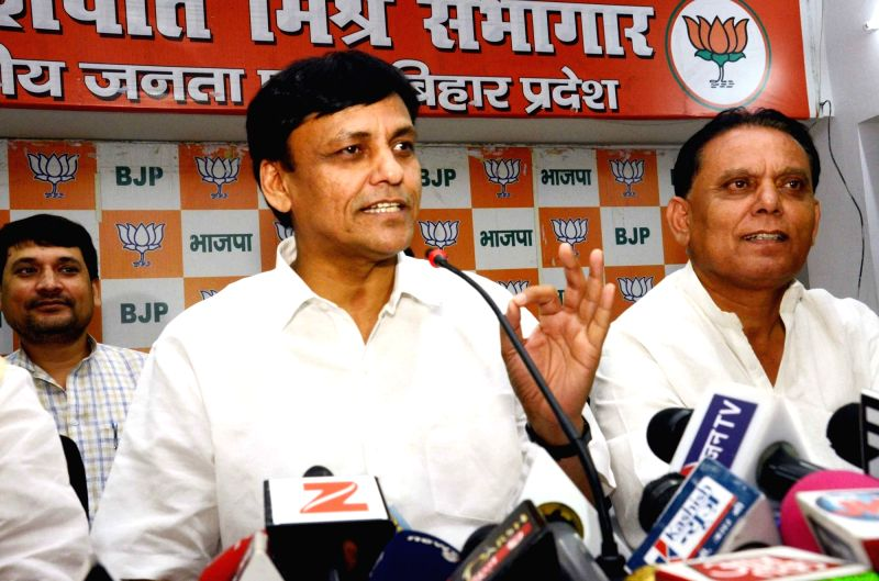 Bihar BJP president Nityanand Rai addresses a press conference in Patna on June 13, 2017. - Nityanand Rai