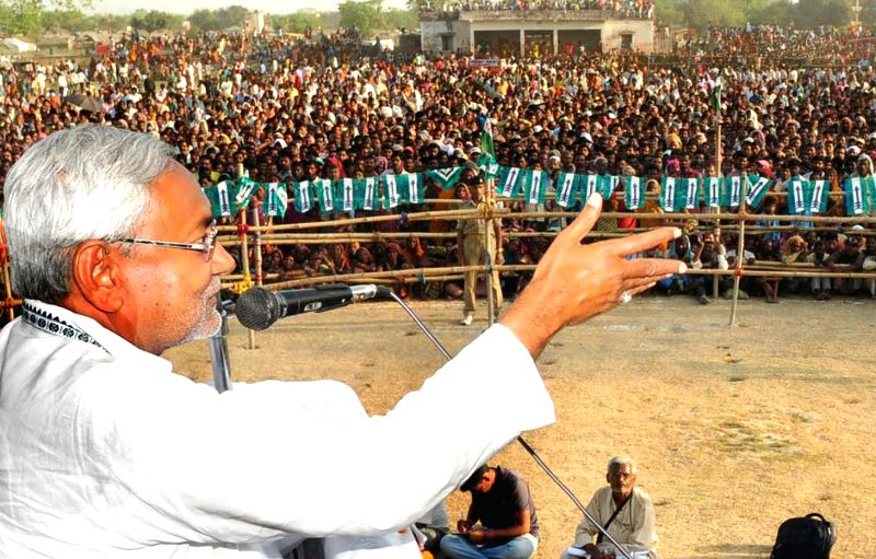 Bihar Cheif Minister Nitish kumar addressing an election rally at Banmankhi in Purnea district, Bihar on April 19, 2014.