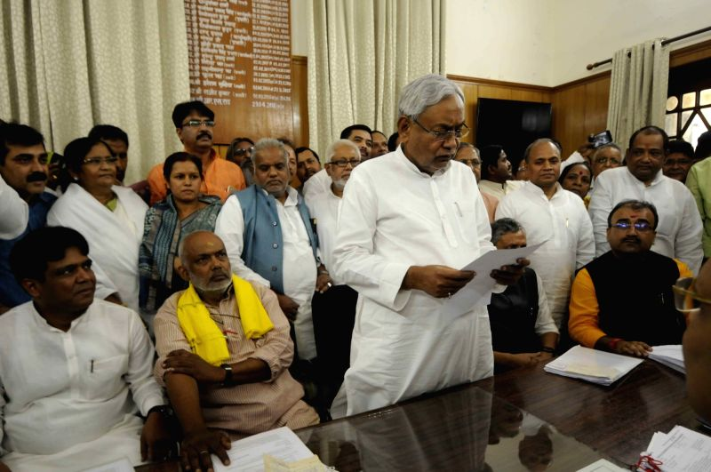 Bihar Chief Minister and JD(U) chief Nitish Kumar files nomination papers upcoming for Bihar Legislative Council elections in Patna, on April 16, 2018. - Nitish Kumar