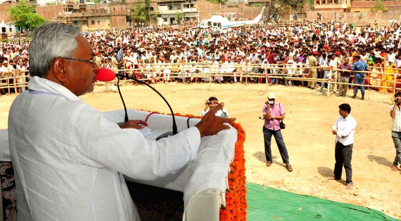 Bihar Chief Minister and JD-U leader Nitish Kumar at Rahui in Nalanda of Bihar on April 14, 2014.