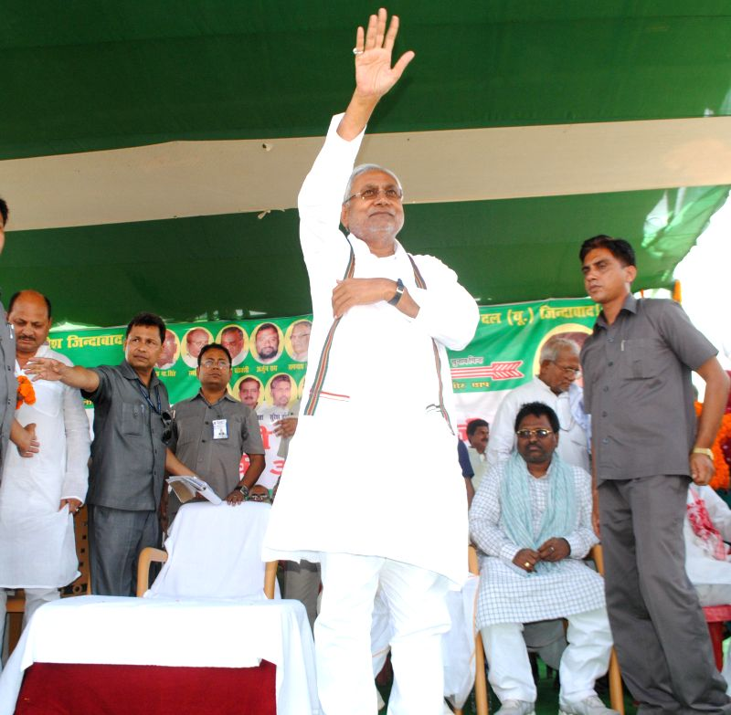 Bihar Chief Minister and JD-U leader Nitish Kumar during a rally at Aurai in Bihar's Muzaffarpur district on April 30, 2014.