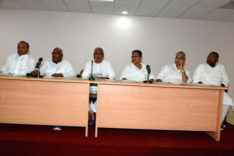 Bihar Chief Minister and JD(U) president Nitish Kumar during a party meeting at his official residence in Patna on July 11, 2017. Kumar broke his silence over Tejashwi Yadavthe younger son ... - Nitish Kumar and Tejashwi Yadav