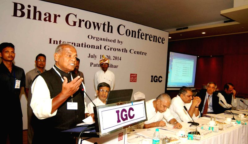 Bihar Chief Minister Jitan Ram Majhi addresses during Bihar Growth Conference organised by International Growth Centre in Patna on July 19, 2014. - Jitan Ram Majhi