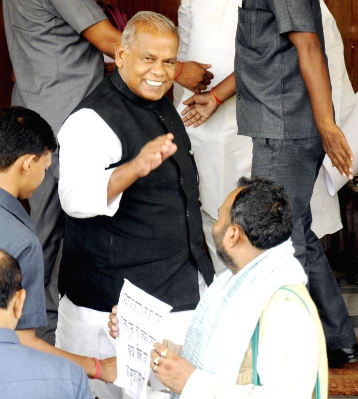 Bihar Chief Minister Jitan Ram Majhi arrives at Bihar Legislative Assembly in Patna on July 15, 2014. - Jitan Ram Majhi
