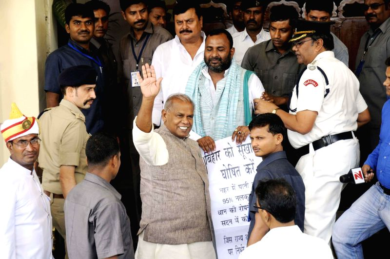 Bihar Chief Minister Jitan Ram Majhi arrives at Bihar Legislative Assembly in Patna on July 18, 2014. - Jitan Ram Majhi