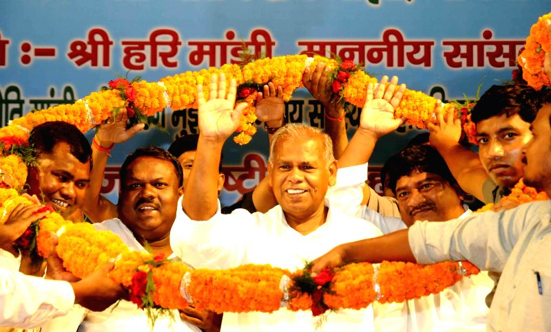 Bihar Chief Minister Jitan Ram Majhi being felicitated by the Mahadalit community during a programme in Patna on June 24, 2014.