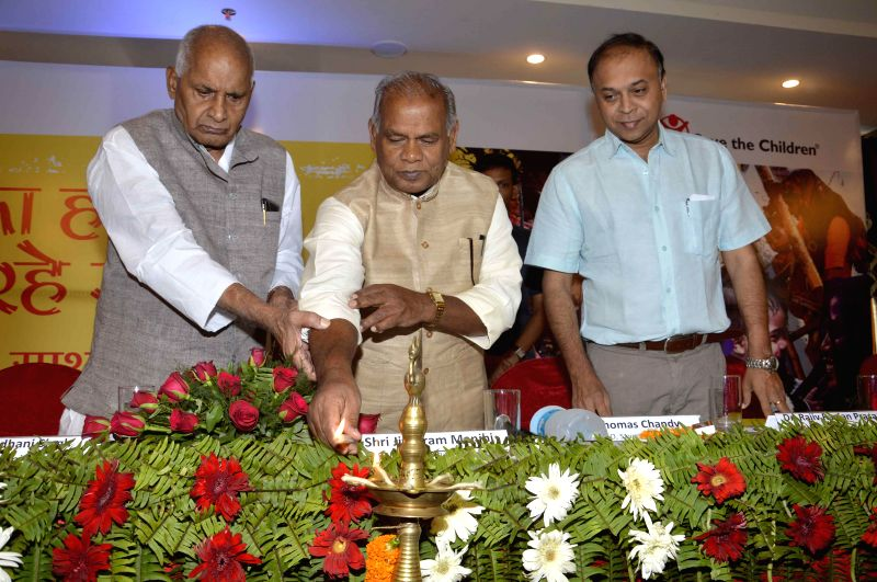 Bihar Chief Minister Jitan Ram Majhi during inauguration of a programme organised by 'Save The Children' a Child Rights organisation in Patna on July 20, 2014. - Jitan Ram Majhi