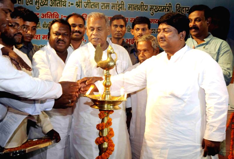 Bihar Chief Minister Jitan Ram Majhi during a programme where he was felicitated by the Mahadalit community in Patna on June 24, 2014.