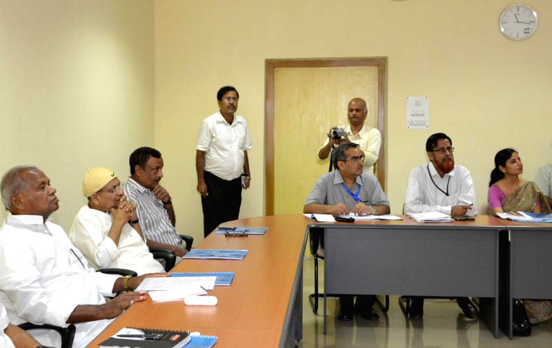 Bihar Chief Minister Jitan Ram Majhi during a meeting with government officials in Patna on June 26, 2014. - Jitan Ram Majhi