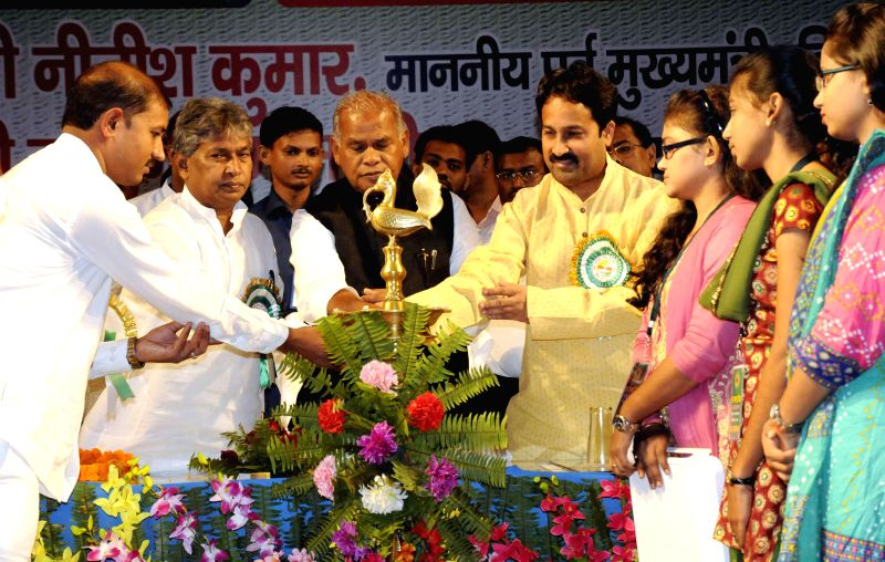Bihar Chief Minister Jitan Ram Majhi during a programme organised by JD-U students' wing in Patna on Aug 11, 2014. - Jitan Ram Majhi