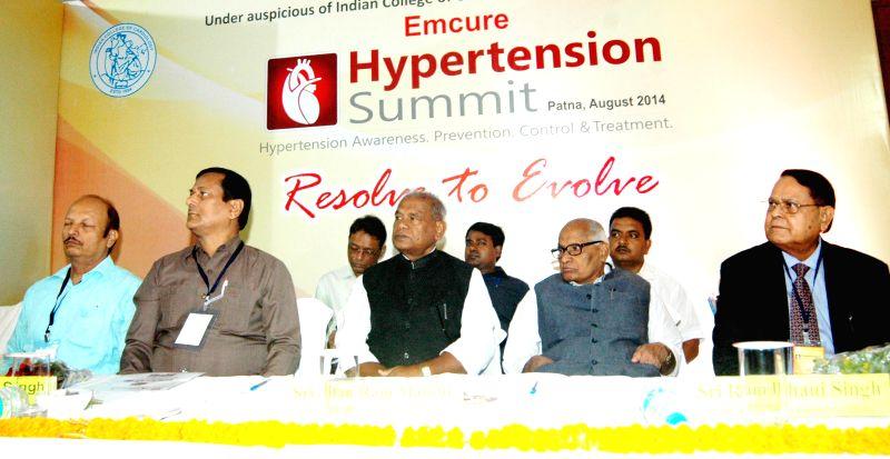 Bihar Chief Minister Jitan Ram Majhi during a programme organised on `Hypertension` in Patna on Aug 24, 2014. - Jitan Ram Majhi