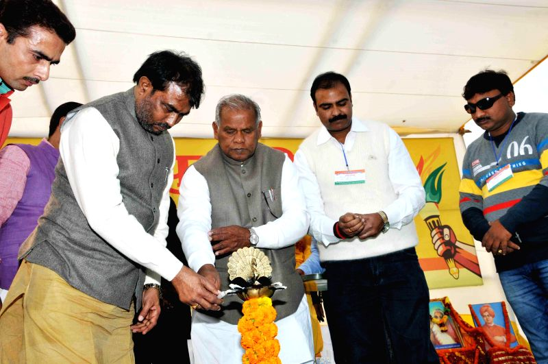 Bihar Chief Minister Jitan Ram Majhi during a programme organised on National Youth Day in Patna on Jan 12, 2015. - Jitan Ram Majhi