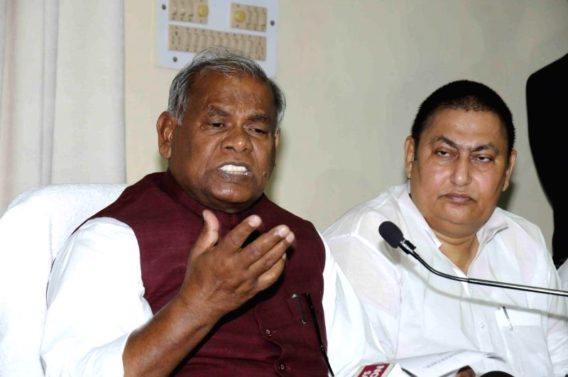Bihar Chief Minister Jitan Ram Majhi during a press conference after resigning from his post in Patna, on Feb 20, 2015. - Jitan Ram Majhi