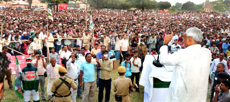 Bihar Chief Minister Nitish Kumar addresses during a rally at Bakhtiarpur in Patna on Oct 28, 2015.