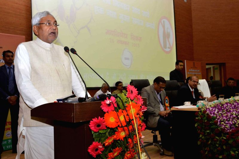 Bihar Chief Minister Nitish Kumar addresses during a programme organised to mark liquor Prohibition Day in Patna, on Nov 26, 2015.