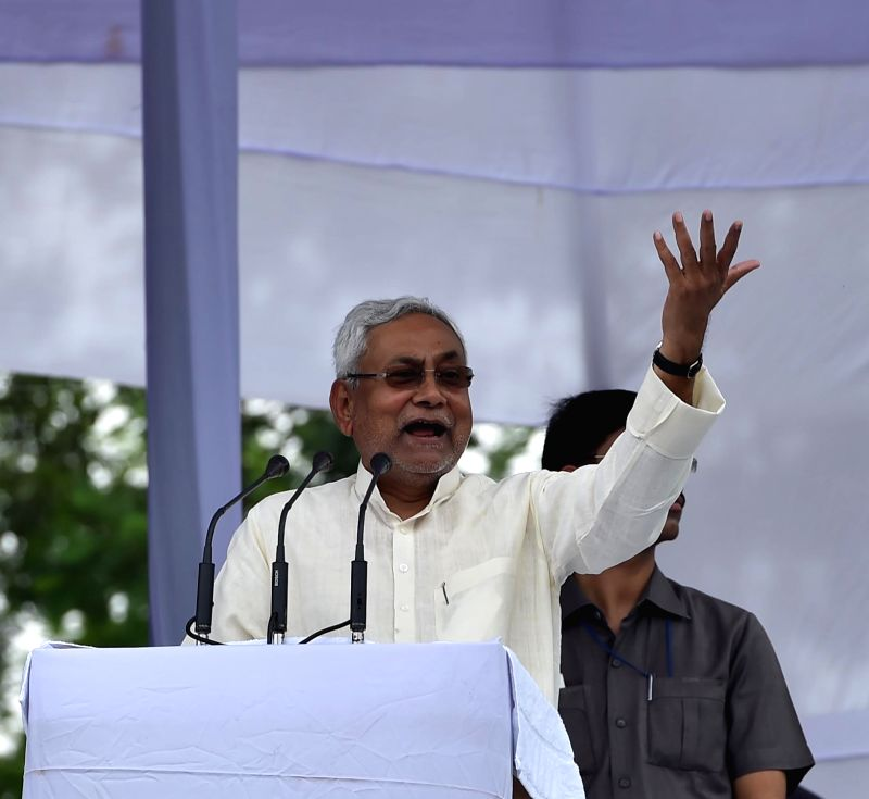 Bihar Chief Minister Nitish Kumar addresses during Bahujan Samaj Swabhiman Sangharsh Samiti (BS4) rally in Lucknow on July 26, 2016. - Nitish Kumar