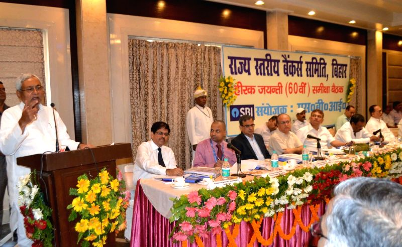 Bihar Chief Minister Nitish Kumar addresses during a state level banker's meet in Patna on May 11, 2017. - Nitish Kumar