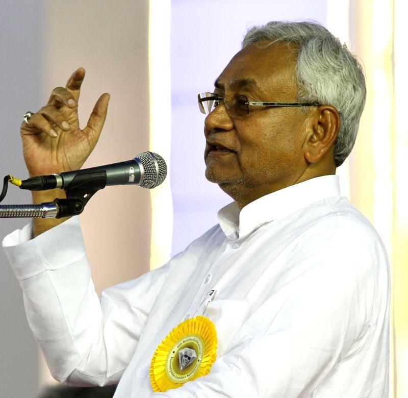 Bihar Chief Minister Nitish Kumar addresses during DMK chief Karunanidhi's birthday celebrations in Chennai on June 3, 2017. - Nitish Kumar