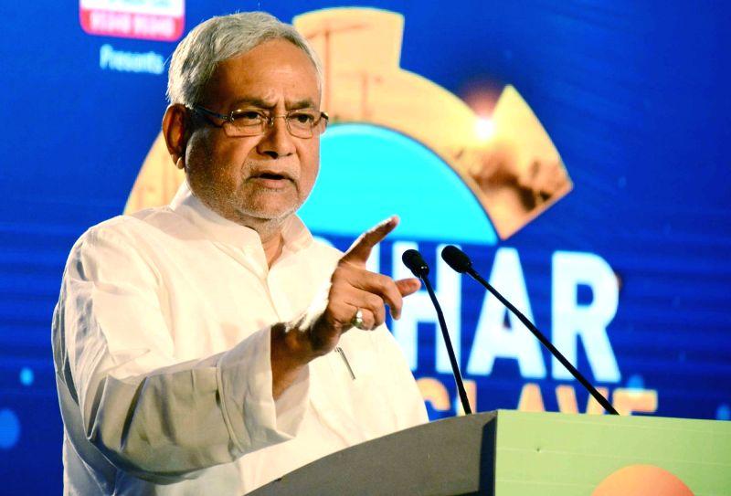 Bihar Chief Minister Nitish Kumar addresses during a programme in Patna, on Oct 17, 2017. - Nitish Kumar