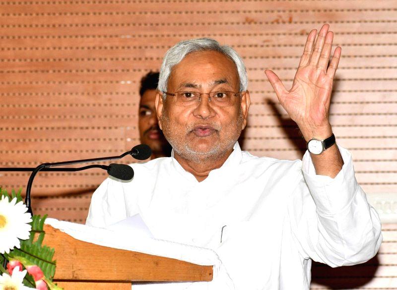 Bihar Chief Minister Nitish Kumar addresses during a programme in Patna on Aug 7, 2018. - Nitish Kumar