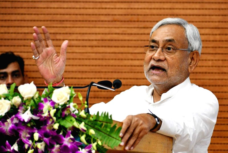 "Bihar Chief Minister Nitish Kumar addresses during ""Student Credit Card Scheme"" distribution ceremony in Patna on Aug 11, 2018. - Nitish Kumar"
