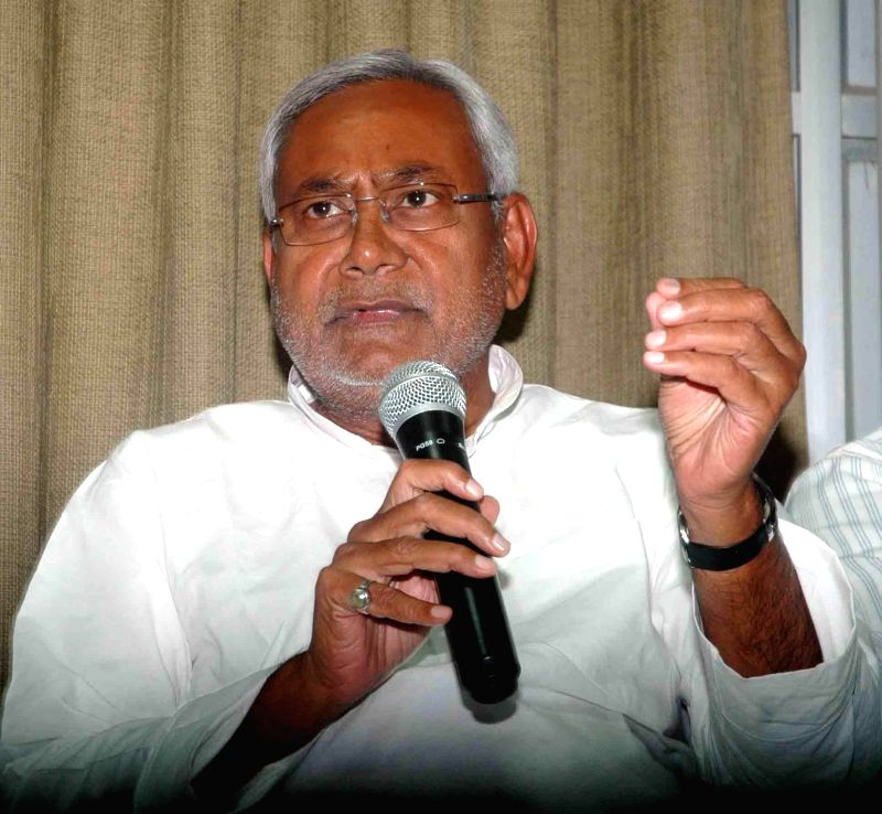 Bihar Chief Minister Nitish Kumar addresses a press conference after resigning from his post in Patna on May 17, 2014.