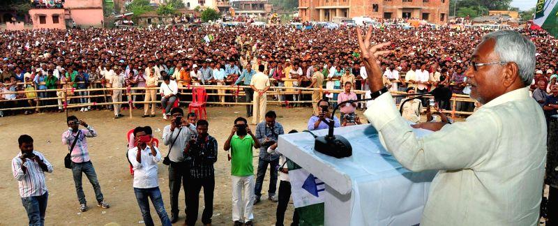 Bihar Chief Minister Nitish Kumar addresses a rally in Bakhtiarpur of Bihar on Oct 31, 2015.