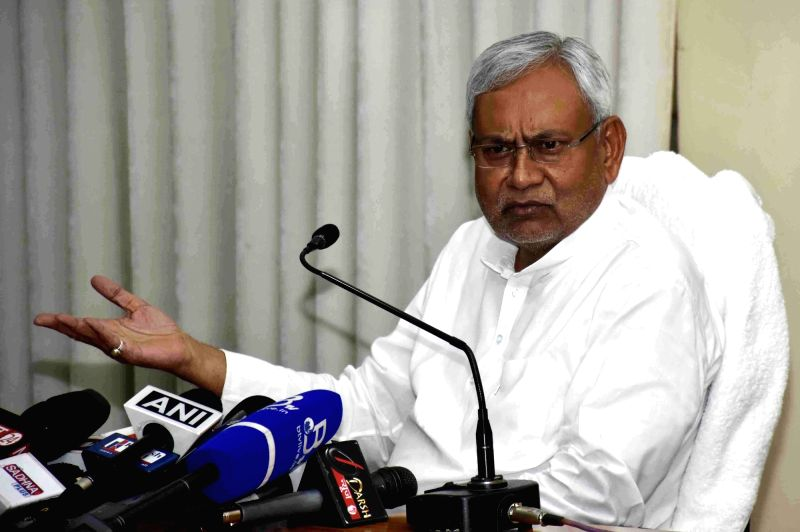 Bihar Chief Minister Nitish Kumar addresses a press conference in Patna, on May 9, 2016. - Nitish Kumar