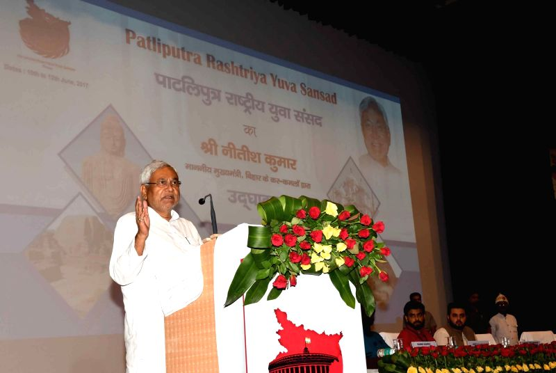Bihar Chief Minister Nitish Kumar addressing during the inauguration of Patliputra Rashtriya Yuva Sansad in Patna on June 10, 2017. - Nitish Kumar