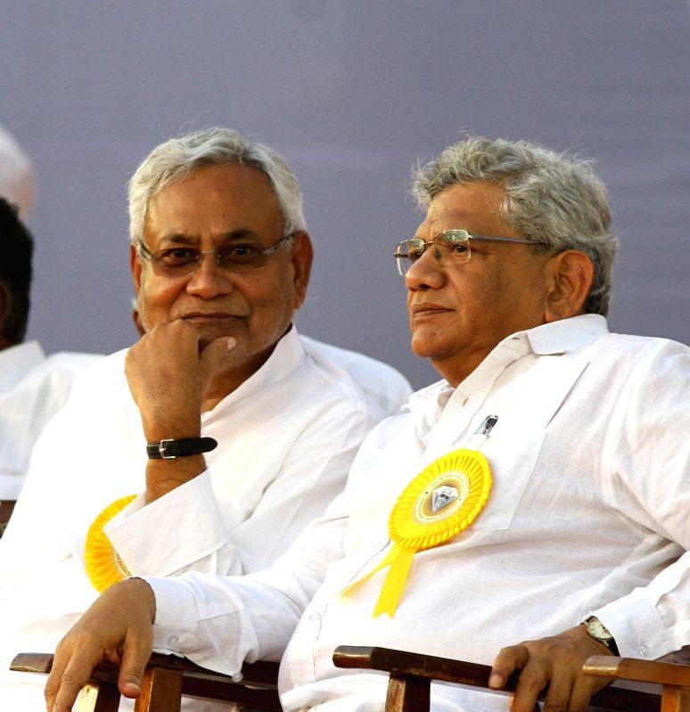 Bihar Chief Minister Nitish Kumar and CPI-M General Secretary Sitaram Yechury during DMK chief Karunanidhi's birthday celebrations in Chennai on June 3, 2017. - Nitish Kumar and Sitaram Yechury