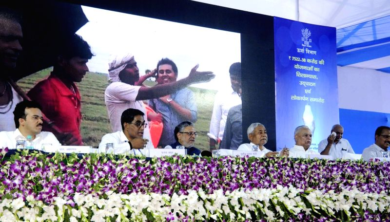 Bihar Chief Minister Nitish Kumar and Deputy Chief Minster Sushil Kumar Modi during the inaugural programme of foundation stone laying ceremony of a Bihar Power Department's library, in Patna ... - Nitish Kumar
