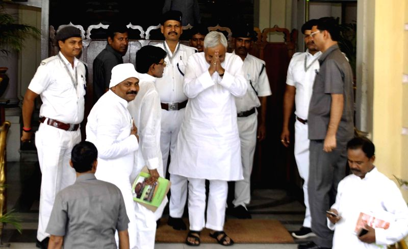 Bihar Chief Minister Nitish Kumar arives at state assembly to attend monsoon session in Patna, on Aug 1, 2016. - Nitish Kumar