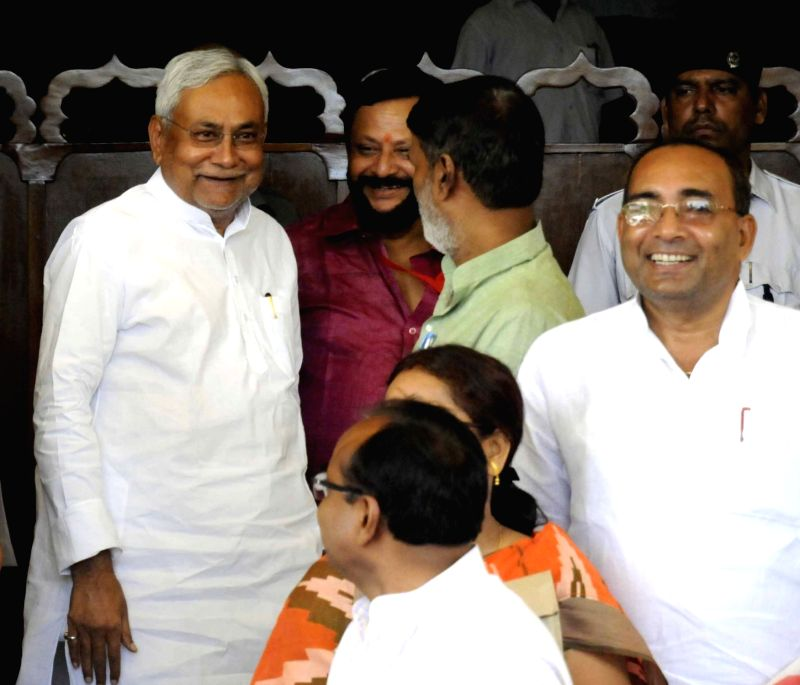 Bihar Chief Minister Nitish Kumar arives at state assembly to attend monsoon session in Patna, on Aug 2, 2016. - Nitish Kumar
