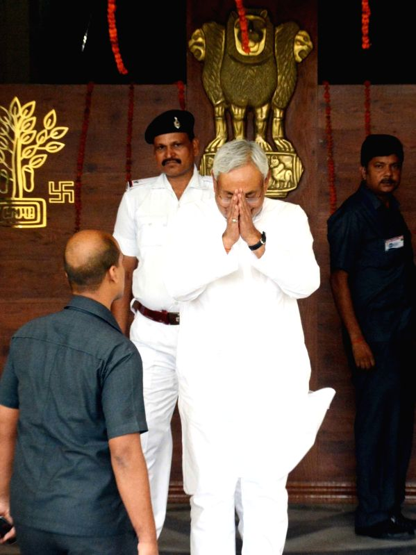 Bihar Chief Minister Nitish Kumar arrives at the state legislative assembly, in Patna on July 23, 2018. - Nitish Kumar