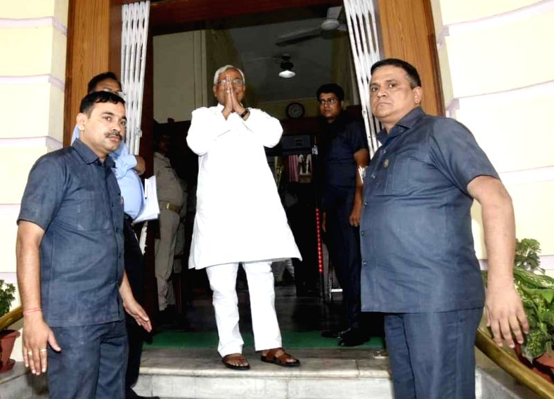 Bihar Chief Minister Nitish Kumar arrives at the Bihar Legislative Assembly, in Patna on July 26, 2018. - Nitish Kumar