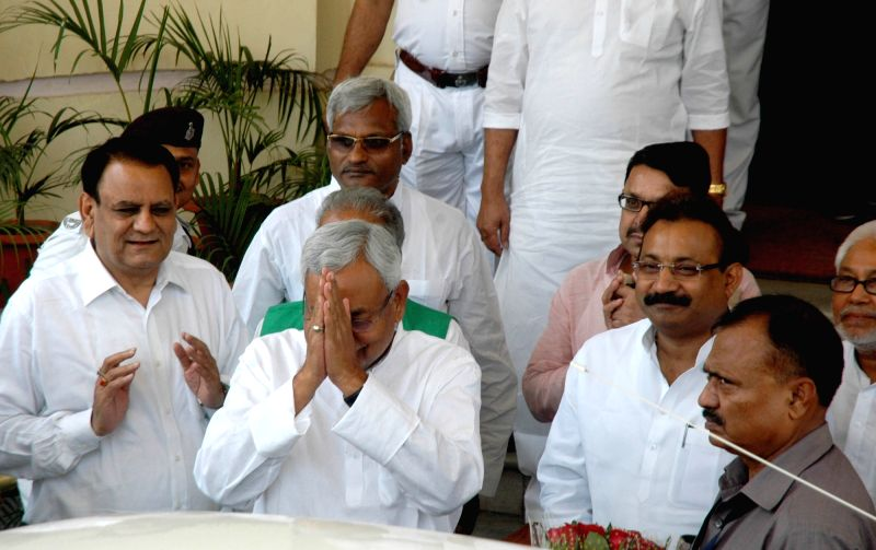 Bihar Chief Minister Nitish Kumar arrives to attend a special session at States Assembly in Patna on April 24, 2017. - Nitish Kumar
