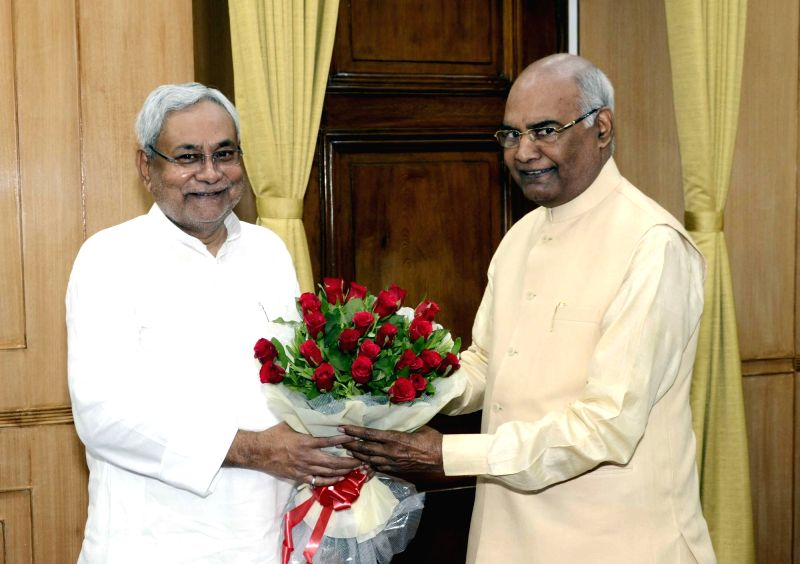 Bihar Chief Minister Nitish Kumar calls on Governor Ram Nath Kovind in Patna, on June 1, 2017. - Nitish Kumar and Nath Kovind