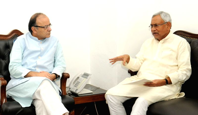Bihar Chief Minister Nitish Kumar calls on the Union Minister for Finance and Corporate Affairs Arun Jaitley, in New Delhi on July 19, 2016. - Nitish Kumar and Affairs Arun Jaitley