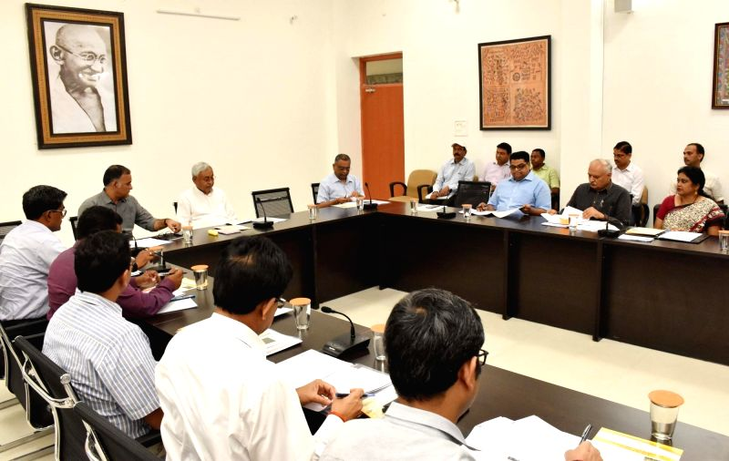 Bihar Chief Minister Nitish Kumar chairs a meeting to review drought situation in the state, in Patna on July 16, 2018. - Nitish Kumar
