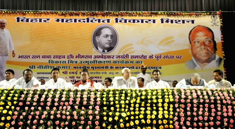 Bihar Chief Minister Nitish Kumar during a programme organised by Bihar Mahadalit Vikas Mission on the eve of B R Ambedkar's birth anniversary in Patna, on April 13, 2015.