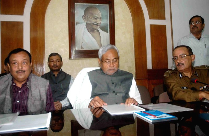 Bihar Chief Minister Nitish Kumar during a meeting at the secretariat in Patna on Nov 21, 2015.