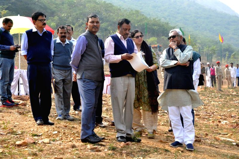 Bihar Chief Minister Nitish Kumar  during his visit to Ghora Katora in Rajgir of Bihar on Nov 28, 2015.